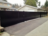 aluminum privacy gate with black powder coating paint finish