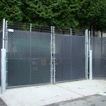 Chain-link with Privacy Slats and Bollard